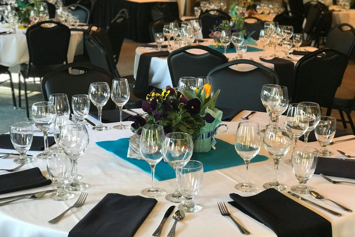 Corvallis Club Ballroom Table Setting