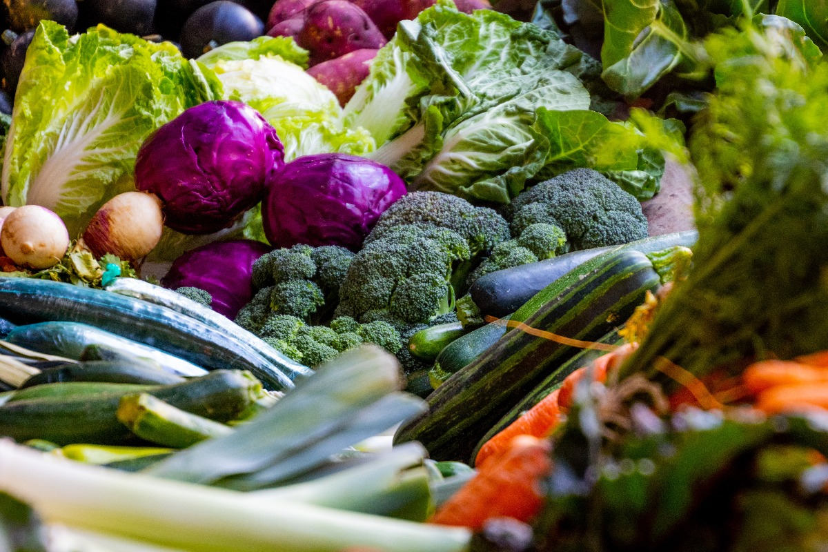 2020 Corvallis Farmers Market - A close-up view of a colorful assortment of vegetables.