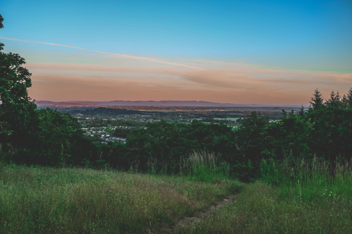 Looking out over Corvallis, Oregon from the Bald Hill Natural Area at sunset, by Jake Simmons, via Shutterstock