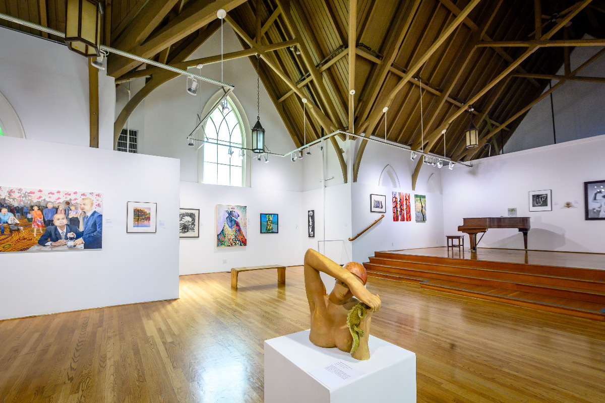 The interior of the Arts Center in Corvallis, Oregon, showing off their gorgeous main gallery, by Reed Lane Photography.