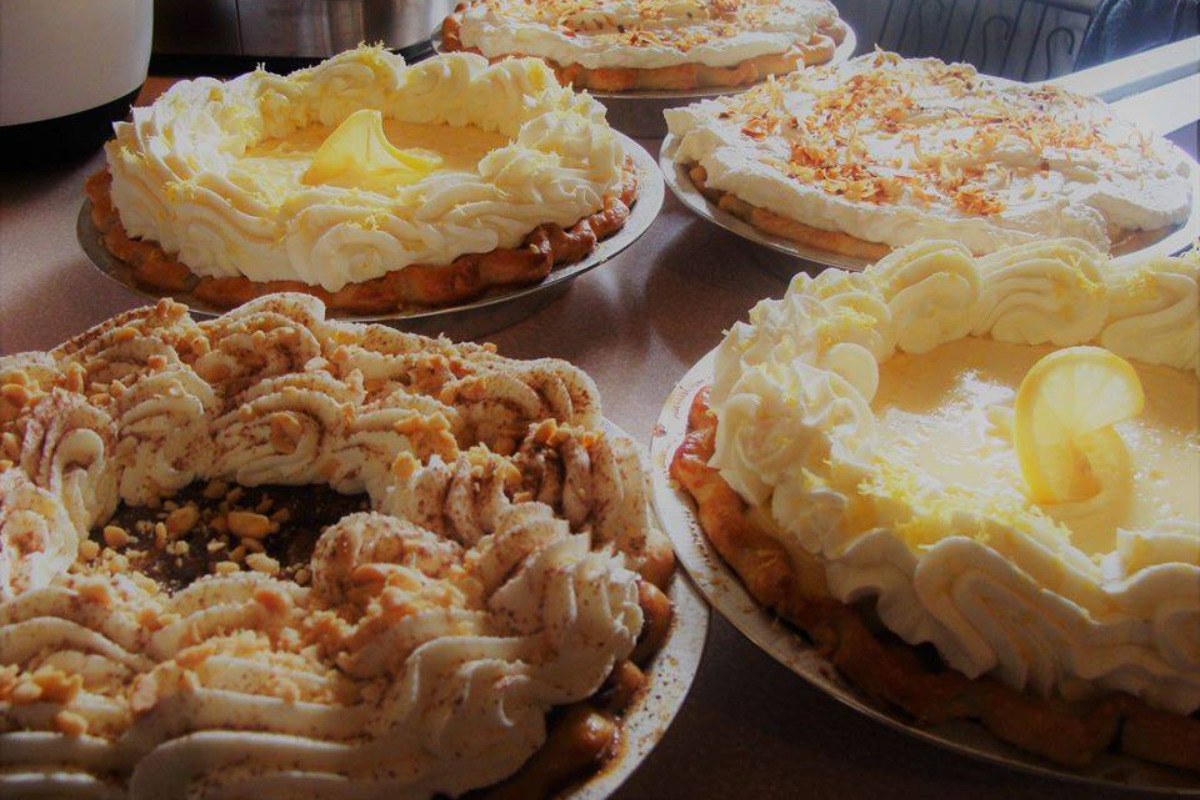Benton County Pie Company, Alsea, Oregon - A table full of a variety of fresh-baked pies - Courtesy Benton County Pie Company Facebook page