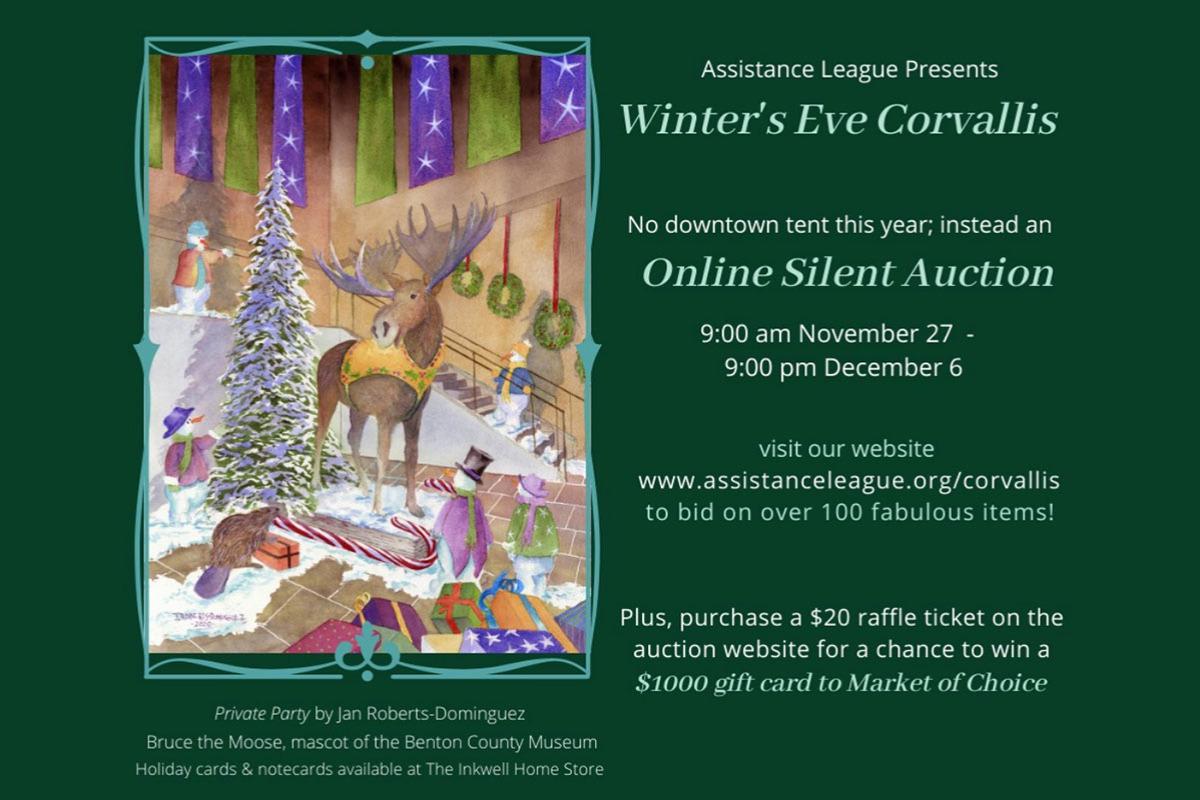 Winter's Eve Corvallis, Online Silent Auction, Nov. 27-Dec. 6, Corvallis, Oregon