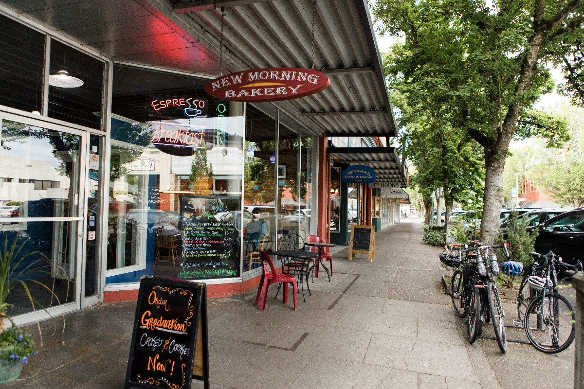 New Morning Bakery, downtown Corvallis, Oregon - A view of New Morning Bakery's storefront on 2nd Street in Corvallis, Oregon