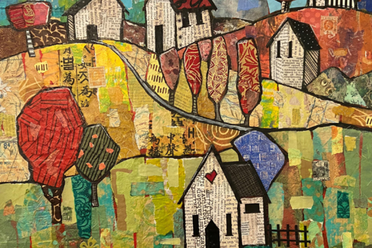 A painting of several houses - Home Sweet Home, a holiday exhibition at the Arts Center in Corvallis, Oregon