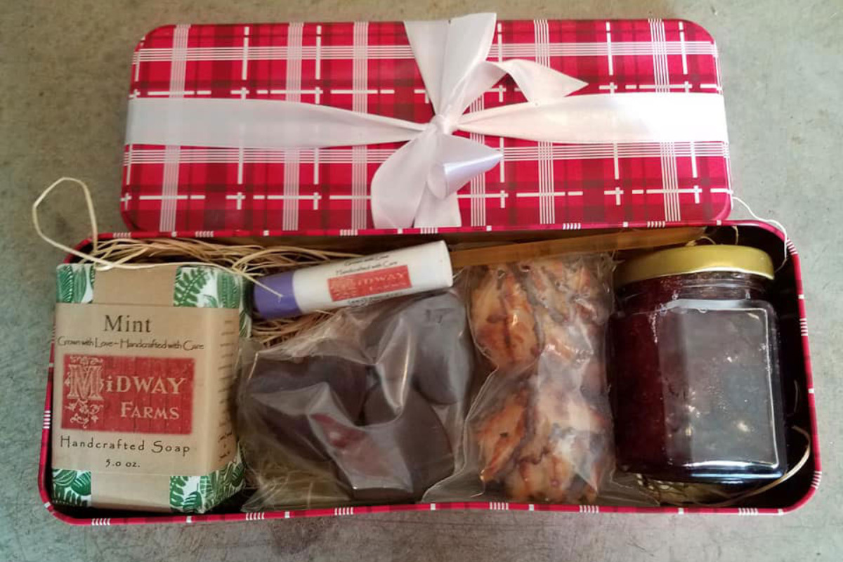 Gift boxes from Midway Farms in Albany, Oregon