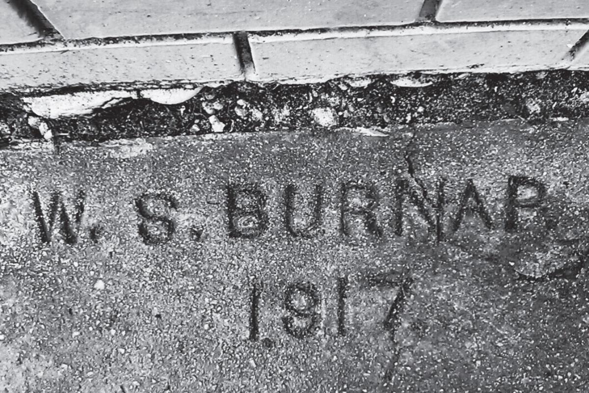 Historic Sidewalk Markers Walking Tour - A sidewalk marker at 500 SW 2nd Street in Corvallis, reading W. S. Burnap, 1917