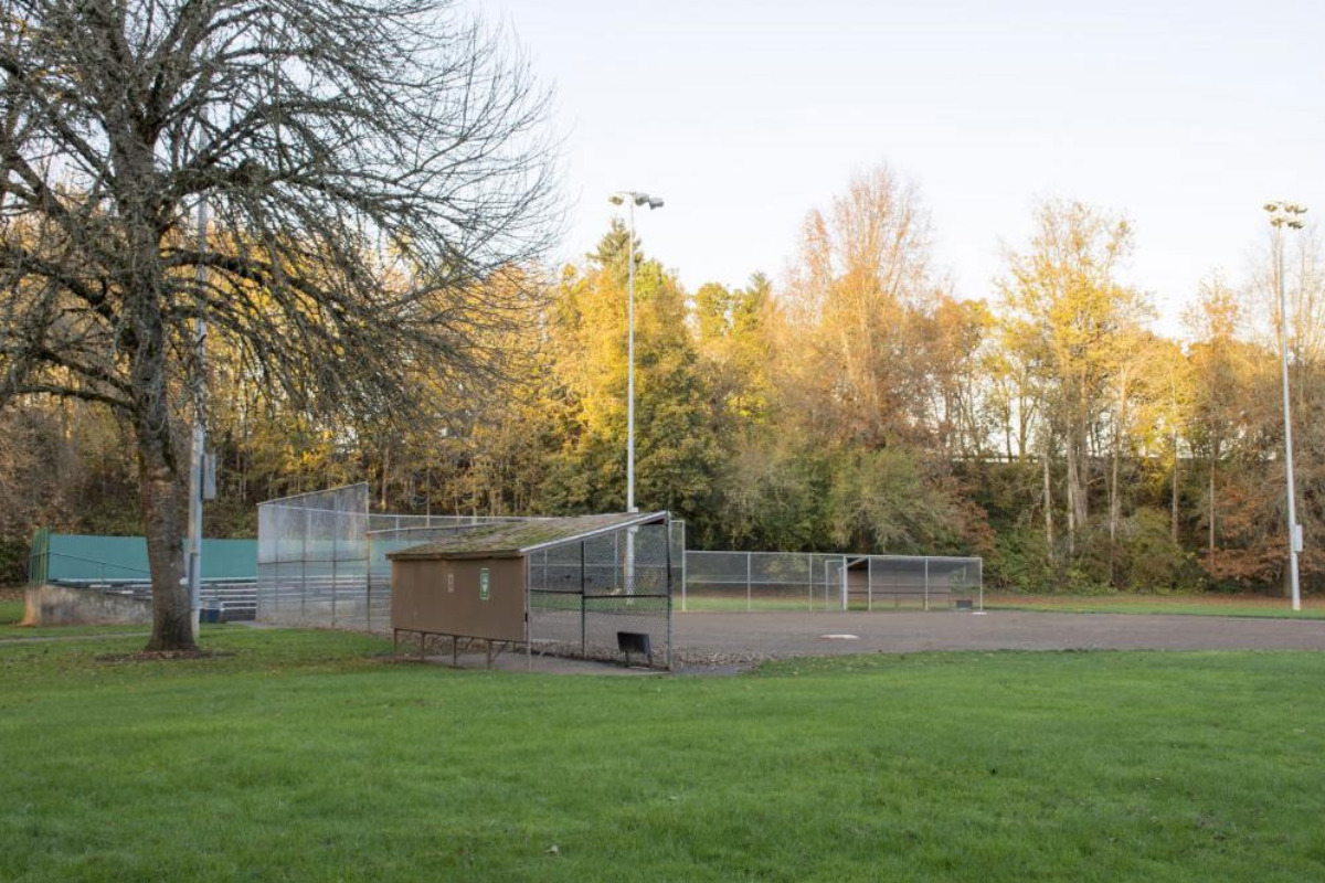 Pioneer Park, Corvallis, Oregon - Trees surround this softball field at Pioneer Park in Corvallis. Photo courtesy the City of Corvallis.