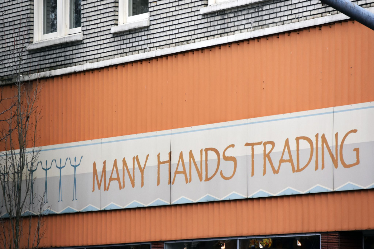 Many Hands Trading, Corvallis, Oregon - Photo of the marquee store sign on the outside of their shop - via Facebook