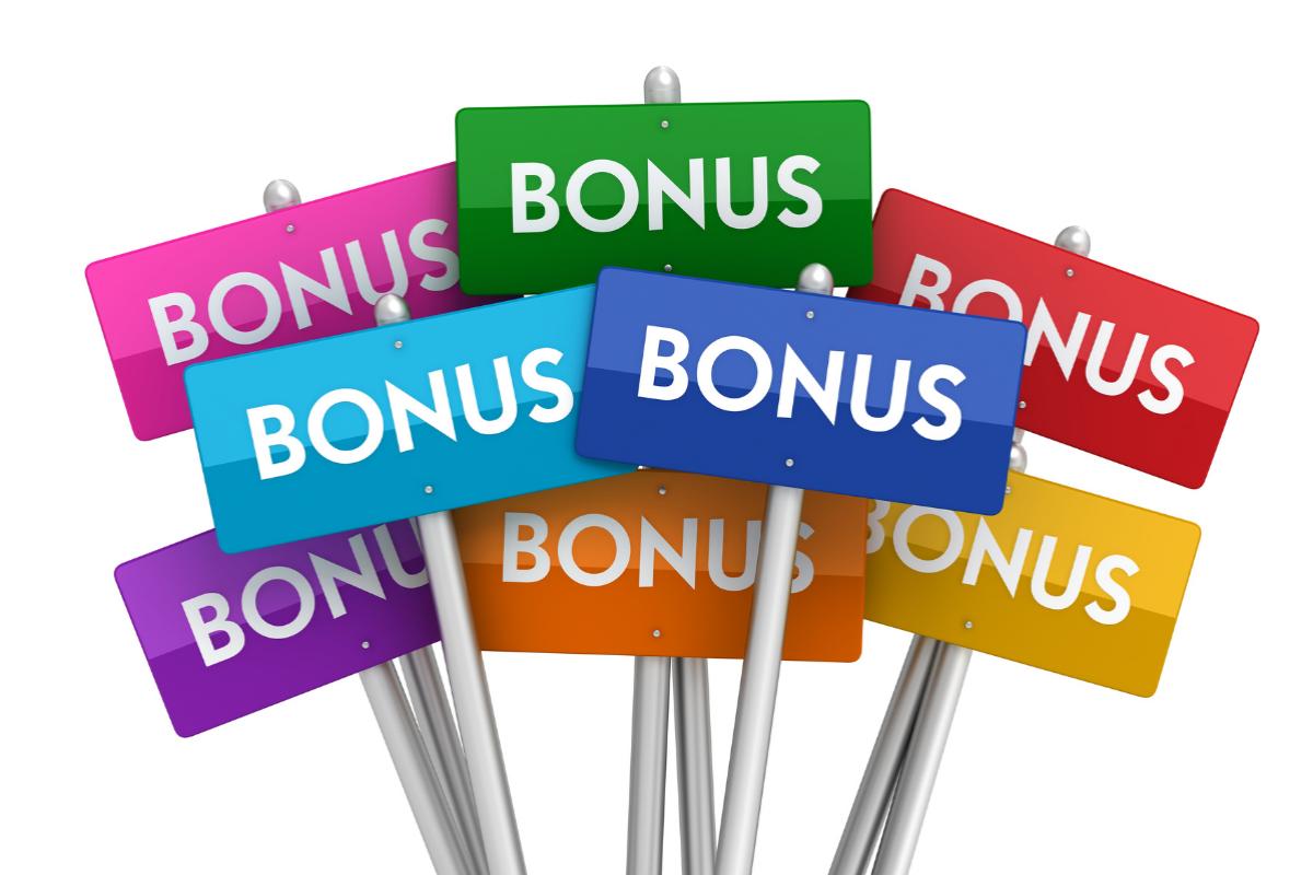 "Bonus Events - Several multicolored signs all reading ""Bonus"" against a white background"
