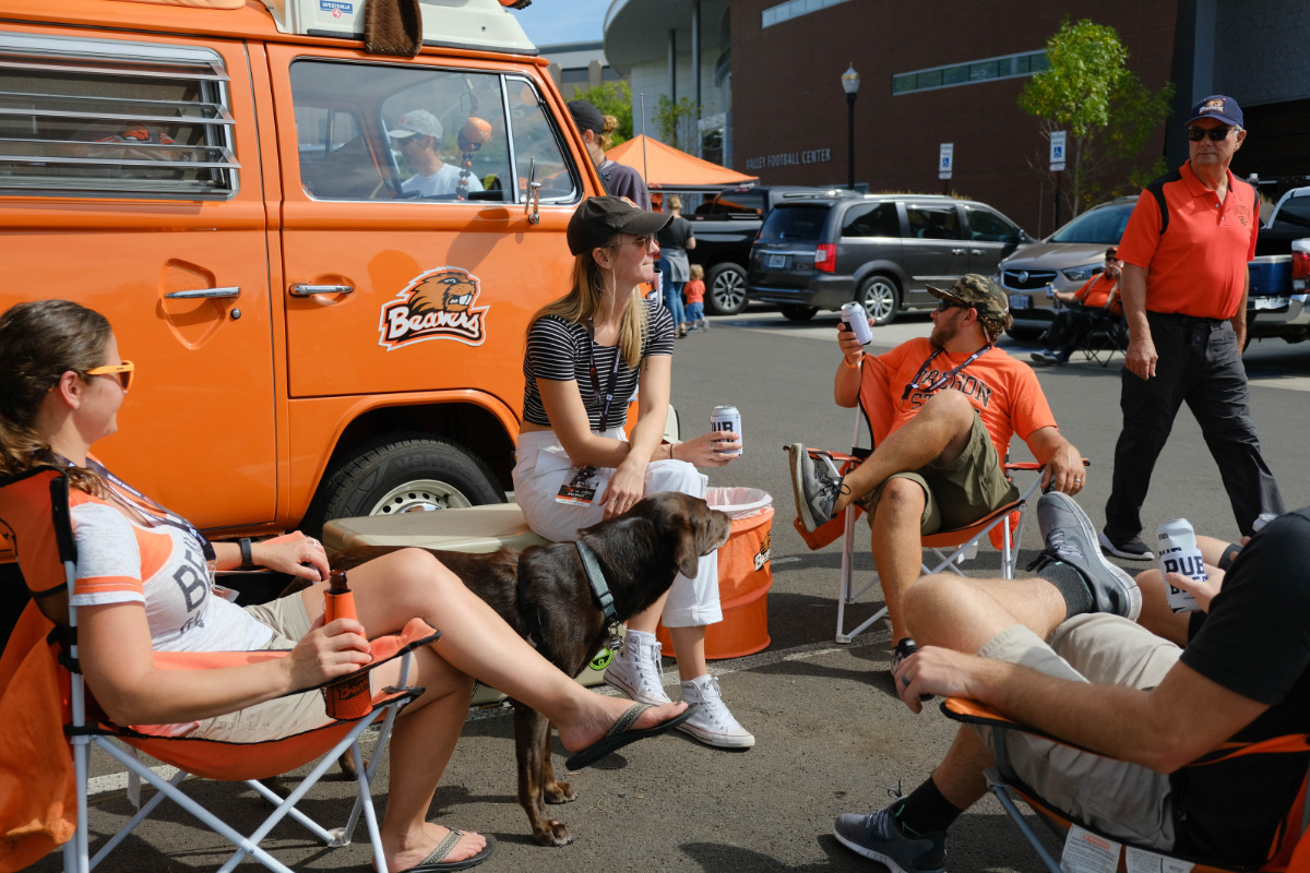 Oregon State University, Reser Stadium Parking Lot, Corvallis, Oregon - A family of Beavers fans tailgate before a game