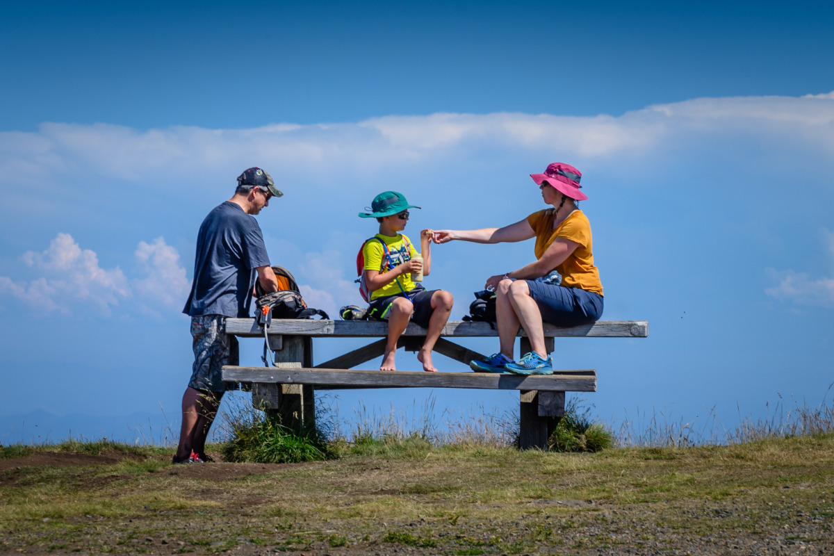 Marys Peak, Philomath, Oregon - A family sets up a picnic at a picnic table on Marys Peak, by Reed Lane Photography