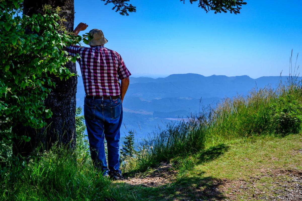 Marys Peak, Philomath, Oregon - A man enjoys the view on Marys Peak, by Reed Lane Photography